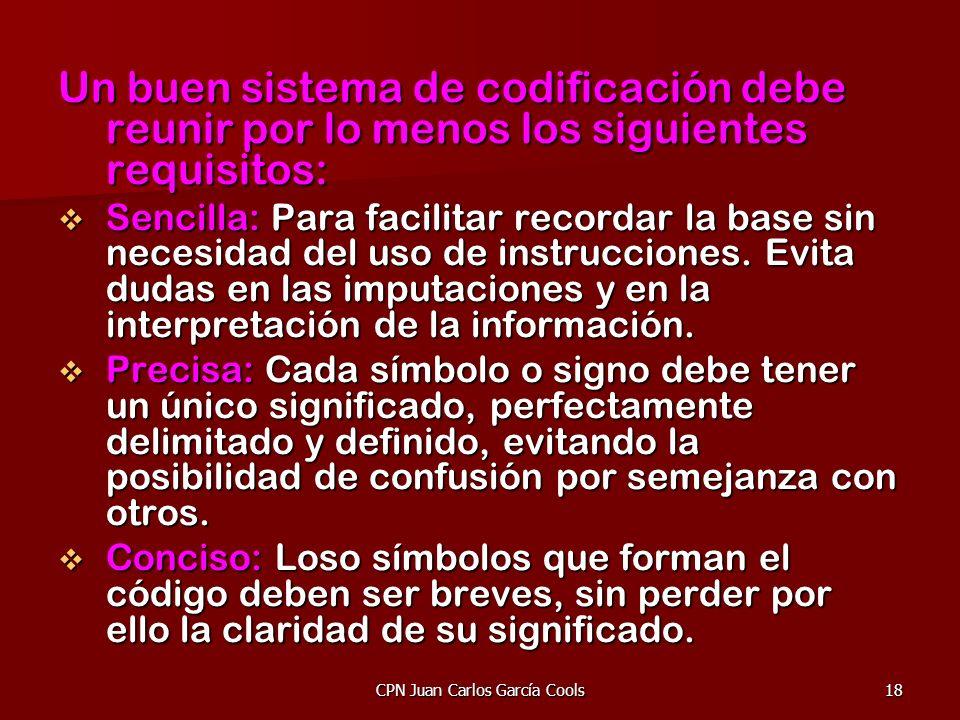 CPN Juan Carlos García Cools18 Un buen sistema de codificación debe reunir por lo menos los siguientes requisitos: Sencilla: Para facilitar recordar l