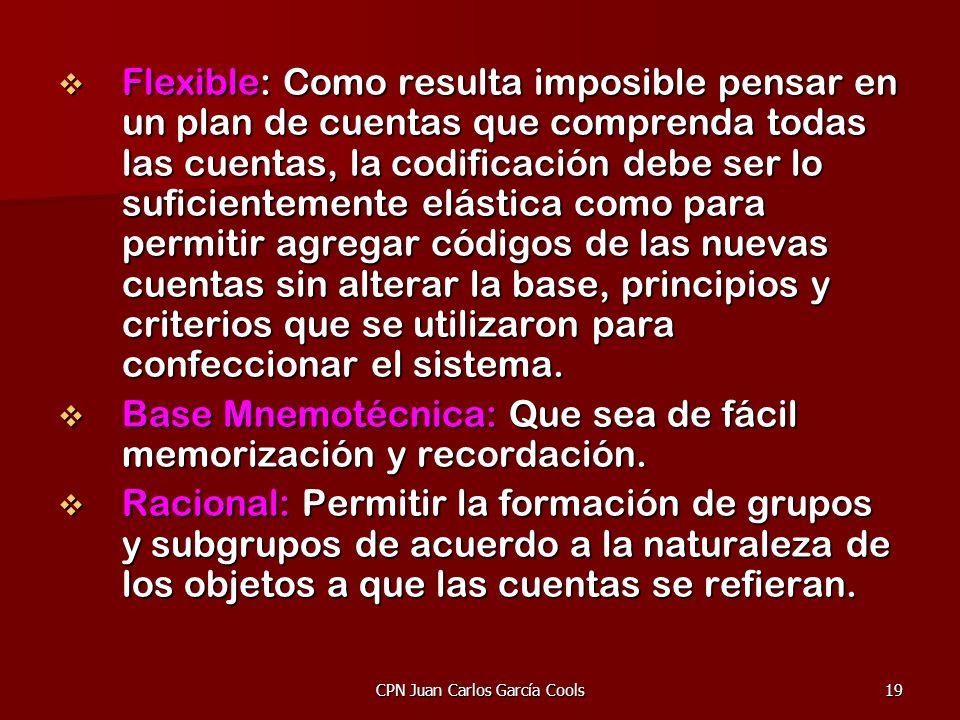 CPN Juan Carlos García Cools19 Flexible: Como resulta imposible pensar en un plan de cuentas que comprenda todas las cuentas, la codificación debe ser