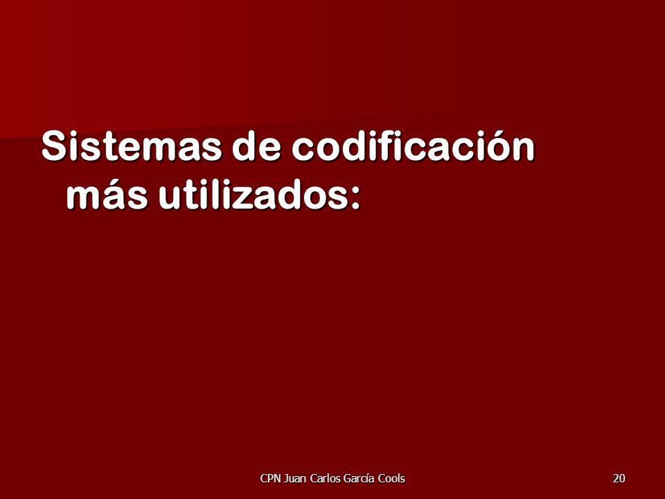 CPN Juan Carlos García Cools20 Sistemas de codificación más utilizados: