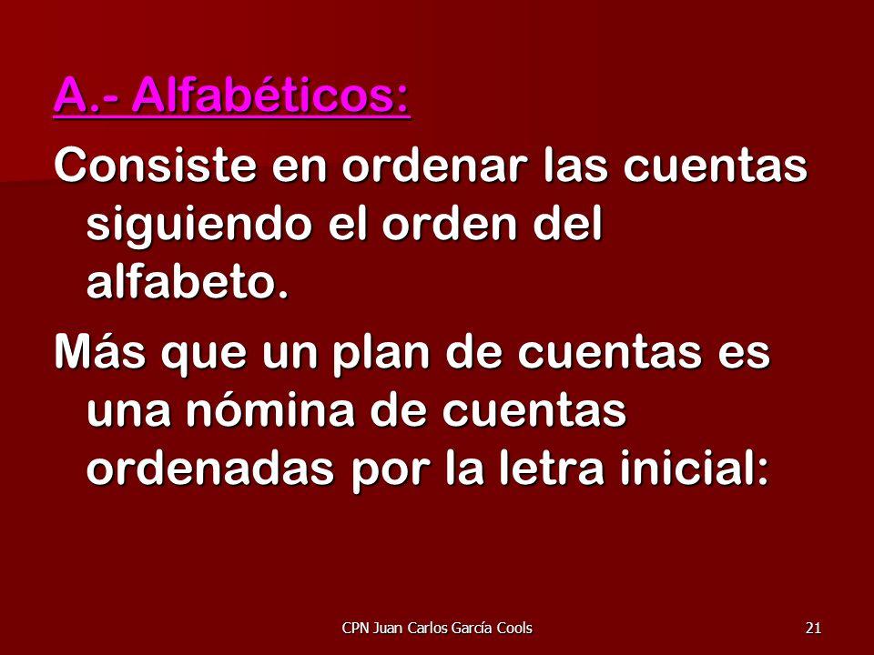 CPN Juan Carlos García Cools21 A.- Alfabéticos: Consiste en ordenar las cuentas siguiendo el orden del alfabeto. Más que un plan de cuentas es una nóm
