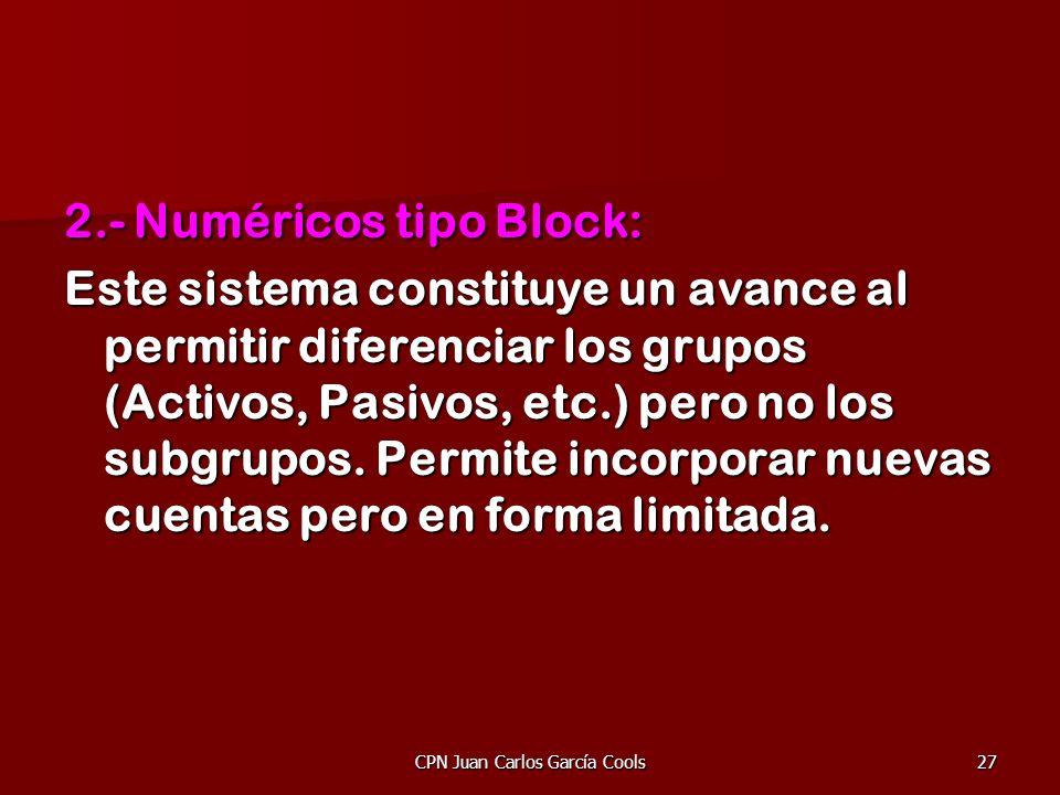 CPN Juan Carlos García Cools27 2.- Numéricos tipo Block: Este sistema constituye un avance al permitir diferenciar los grupos (Activos, Pasivos, etc.)