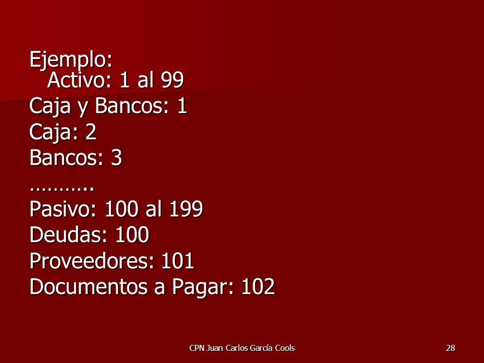 CPN Juan Carlos García Cools28 Ejemplo: Activo: 1 al 99 Caja y Bancos: 1 Caja: 2 Bancos: 3 ……….. Pasivo: 100 al 199 Deudas: 100 Proveedores: 101 Docum