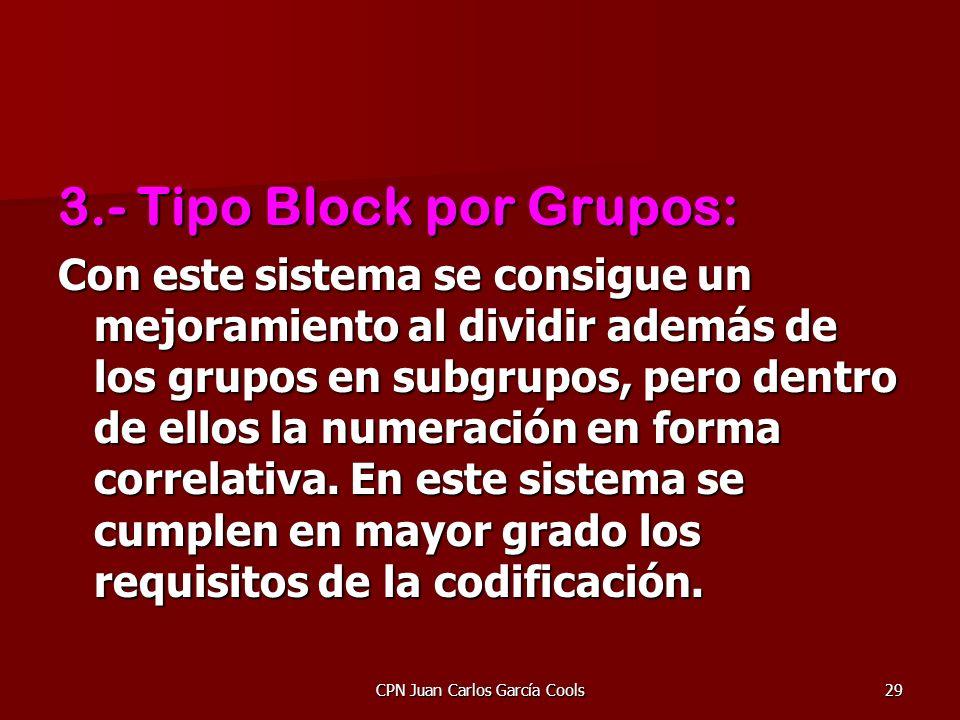 CPN Juan Carlos García Cools29 3.- Tipo Block por Grupos: Con este sistema se consigue un mejoramiento al dividir además de los grupos en subgrupos, p