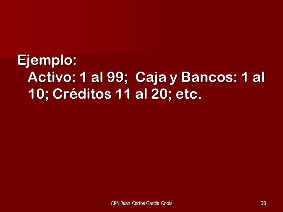 CPN Juan Carlos García Cools30 Ejemplo: Activo: 1 al 99; Caja y Bancos: 1 al 10; Créditos 11 al 20; etc.