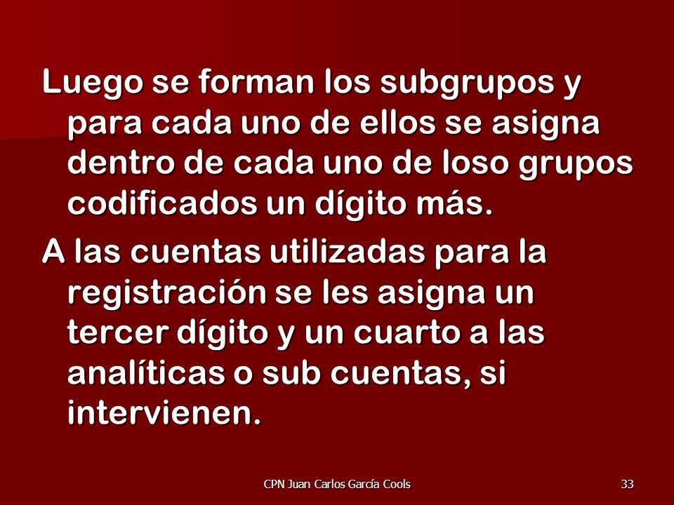 CPN Juan Carlos García Cools33 Luego se forman los subgrupos y para cada uno de ellos se asigna dentro de cada uno de loso grupos codificados un dígit