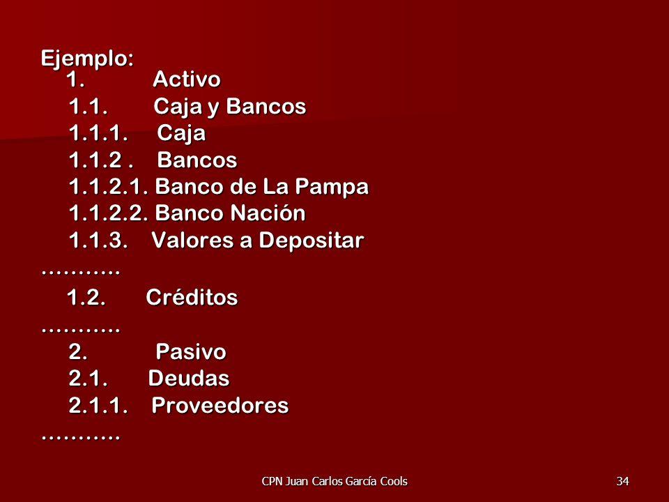 CPN Juan Carlos García Cools34 Ejemplo: 1. Activo 1.1. Caja y Bancos 1.1. Caja y Bancos 1.1.1. Caja 1.1.1. Caja 1.1.2. Bancos 1.1.2. Bancos 1.1.2.1. B