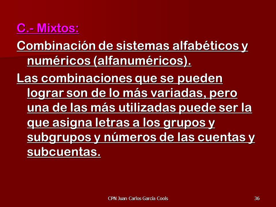 CPN Juan Carlos García Cools36 C.- Mixtos: Combinación de sistemas alfabéticos y numéricos (alfanuméricos). Las combinaciones que se pueden lograr son