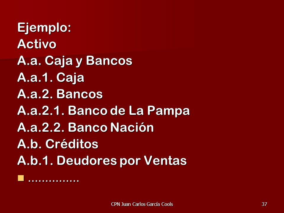 CPN Juan Carlos García Cools37 Ejemplo:Activo A.a. Caja y Bancos A.a.1. Caja A.a.2. Bancos A.a.2.1. Banco de La Pampa A.a.2.2. Banco Nación A.b. Crédi