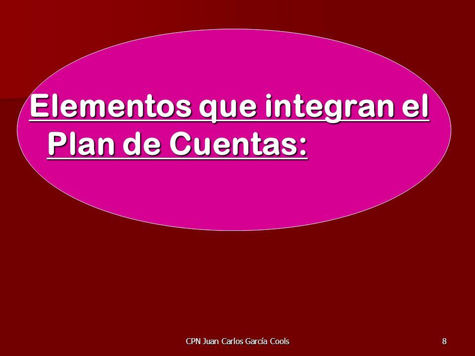 CPN Juan Carlos García Cools8 Elementos que integran el Plan de Cuentas: