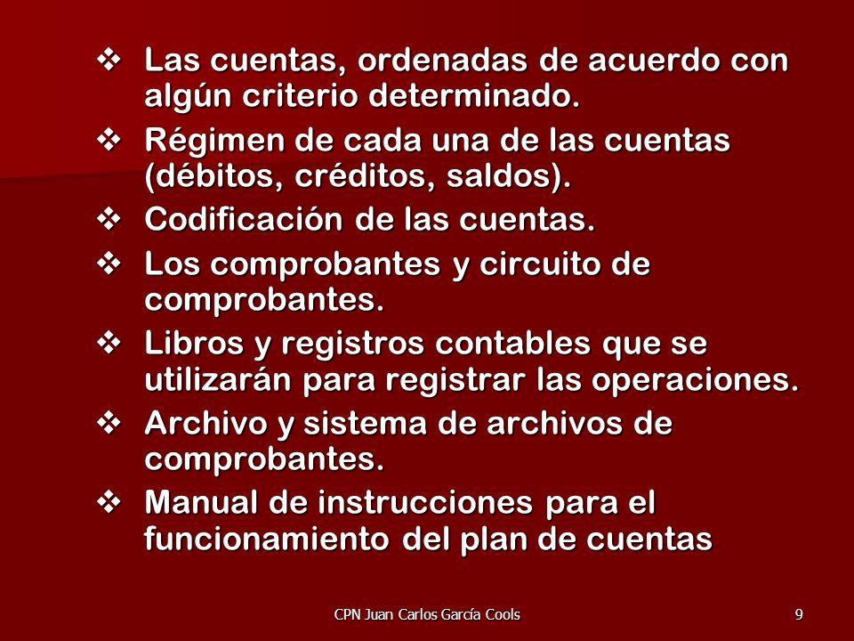 CPN Juan Carlos García Cools9 Las cuentas, ordenadas de acuerdo con algún criterio determinado. Las cuentas, ordenadas de acuerdo con algún criterio d