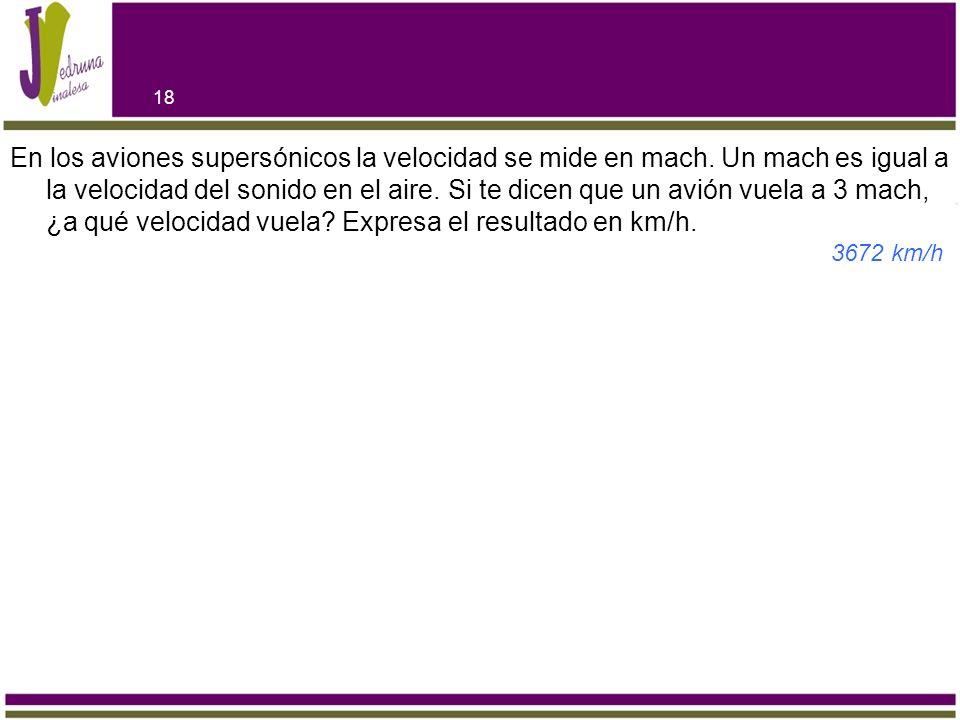 En los aviones supersónicos la velocidad se mide en mach. Un mach es igual a la velocidad del sonido en el aire. Si te dicen que un avión vuela a 3 ma