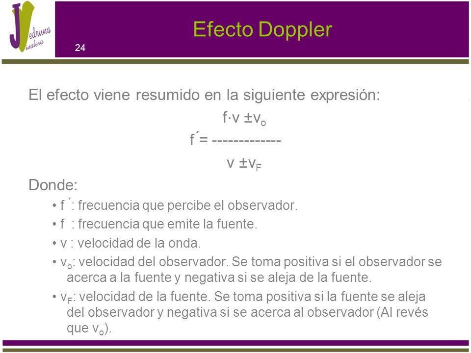 Efecto Doppler El efecto viene resumido en la siguiente expresión: f v ±v o f ́= ------------- v ±v F Donde: f ́: frecuencia que percibe el observador