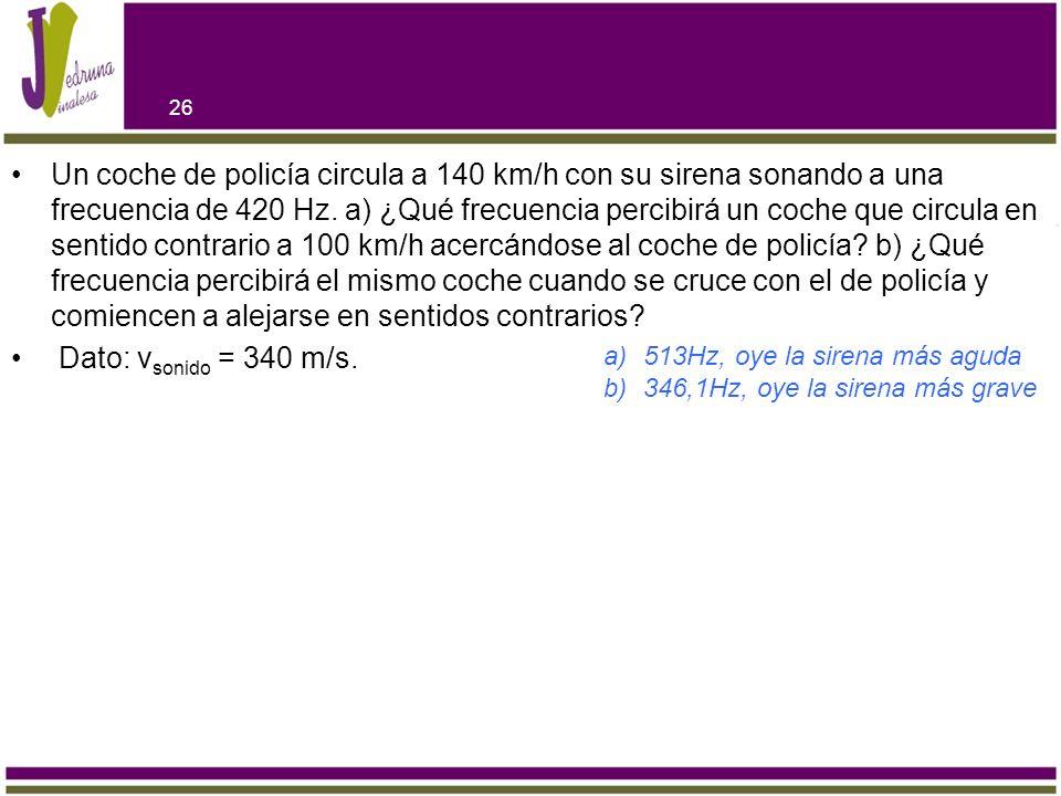 Un coche de policía circula a 140 km/h con su sirena sonando a una frecuencia de 420 Hz. a) ¿Qué frecuencia percibirá un coche que circula en sentido
