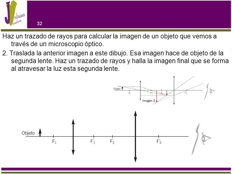 Haz un trazado de rayos para calcular la imagen de un objeto que vemos a través de un microscopio óptico. 2. Traslada la anterior imagen a este dibujo