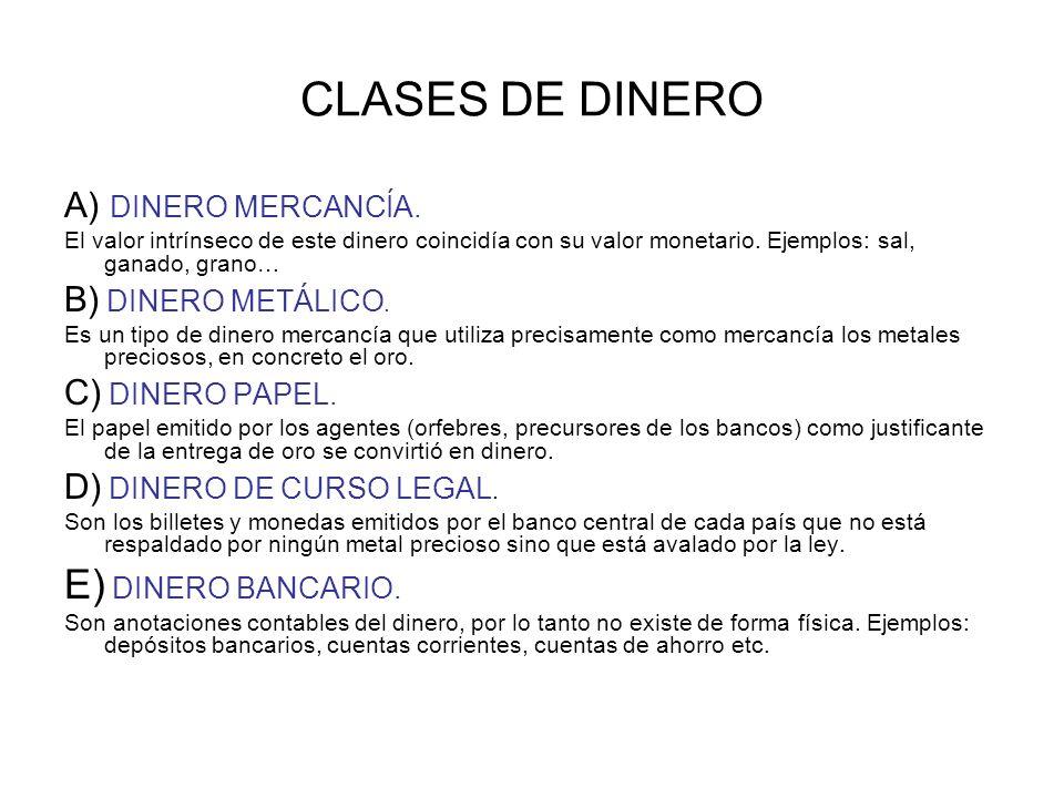 CLASES DE DINERO A) DINERO MERCANCÍA.