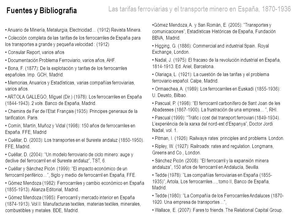 Las tarifas ferroviarias y el transporte minero en España, 1870-1936 9 Fuentes y Bibliografía Anuario de Minería, Metalurgia, Electricidad… (1912) Rev