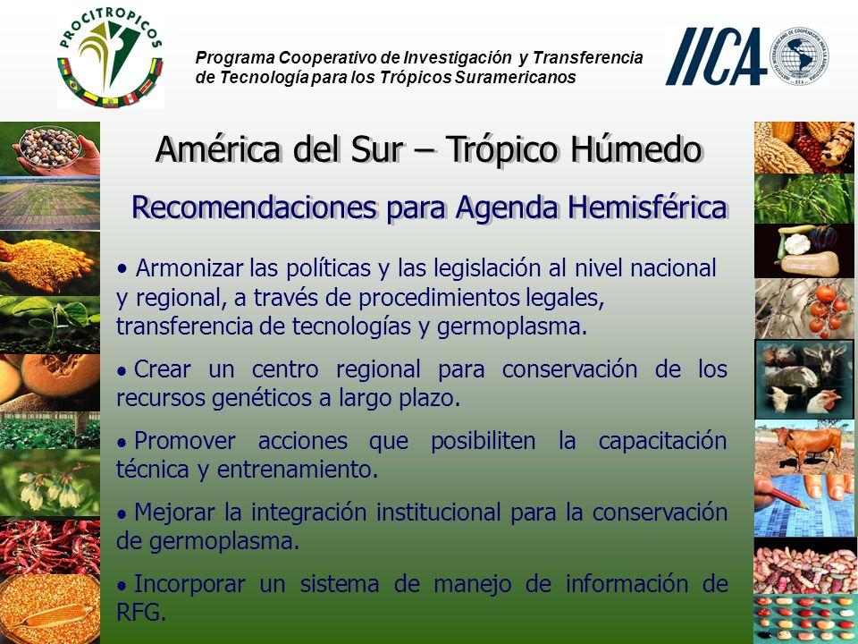 Programa Cooperativo de Investigación y Transferencia de Tecnología para los Trópicos Suramericanos Armonizar las políticas y las legislación al nivel nacional y regional, a través de procedimientos legales, transferencia de tecnologías y germoplasma.