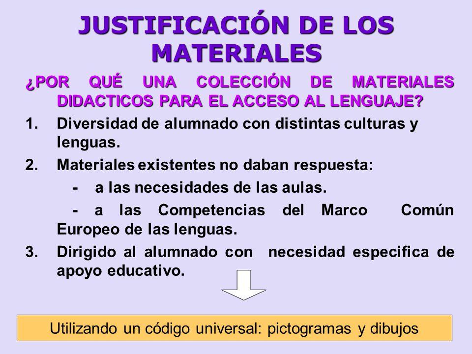 JUSTIFICACIÓN DE LOS MATERIALES ¿POR QUÉ UNA COLECCIÓN DE MATERIALES DIDACTICOS PARA EL ACCESO AL LENGUAJE? 1.Diversidad de alumnado con distintas cul