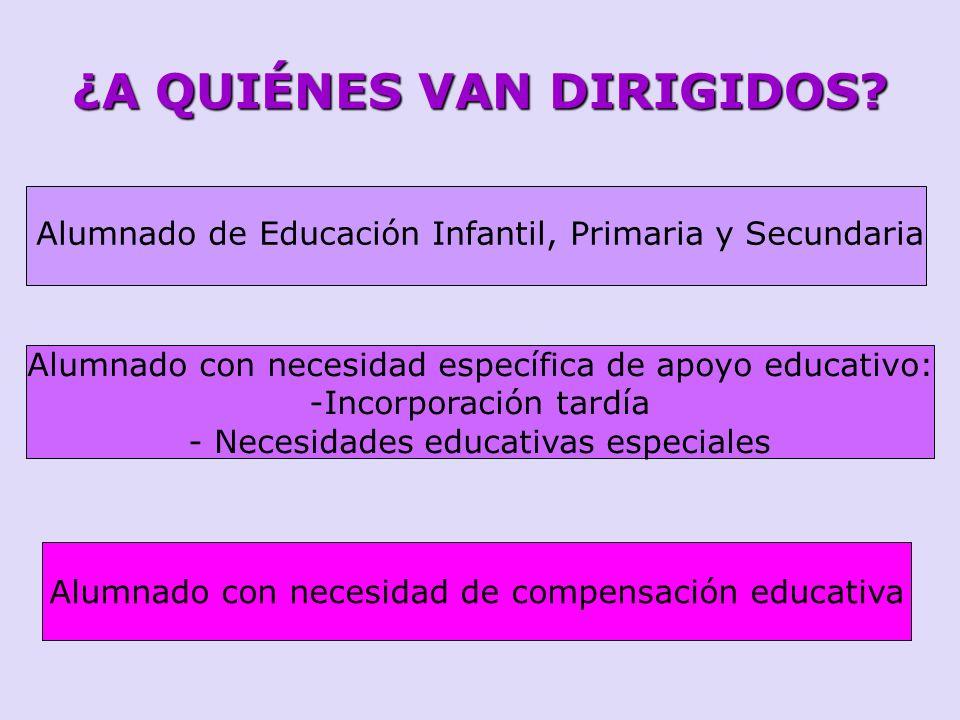 ¿A QUIÉNES VAN DIRIGIDOS? Alumnado de Educación Infantil, Primaria y Secundaria Alumnado con necesidad específica de apoyo educativo: -Incorporación t