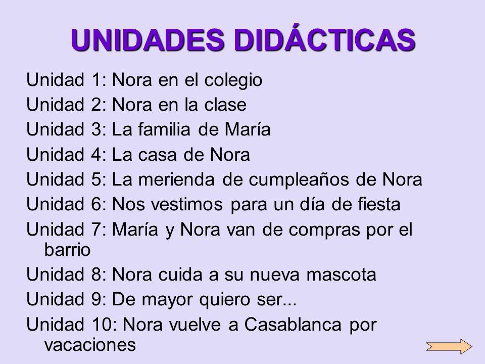 UNIDADES DIDÁCTICAS Unidad 1: Nora en el colegio Unidad 2: Nora en la clase Unidad 3: La familia de María Unidad 4: La casa de Nora Unidad 5: La merie