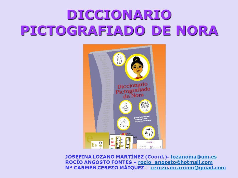 DICCIONARIO PICTOGRAFIADO DE NORA JOSEFINA LOZANO MARTÍNEZ (Coord.)- lozanoma@um.eslozanoma@um.es ROCÍO ANGOSTO FONTES – rocio_angosto@hotmail.comroci