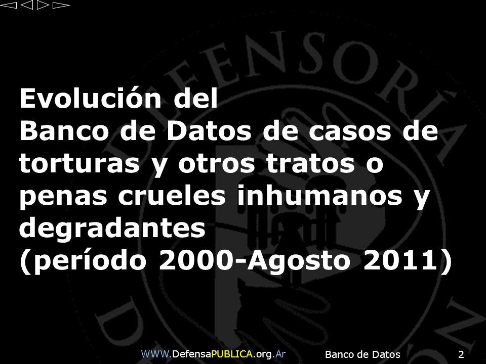 Banco de Datos2 Evolución del Banco de Datos de casos de torturas y otros tratos o penas crueles inhumanos y degradantes (período 2000-Agosto 2011) WW