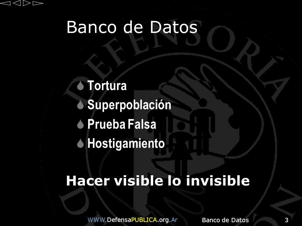 Banco de Datos3 Tortura Superpoblación Prueba Falsa Hostigamiento Hacer visible lo invisible WWW.DefensaPUBLICA.org.Ar