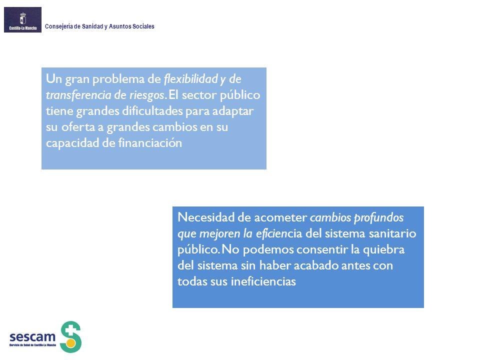 Consejería de Sanidad y Asuntos Sociales Un gran problema de flexibilidad y de transferencia de riesgos.