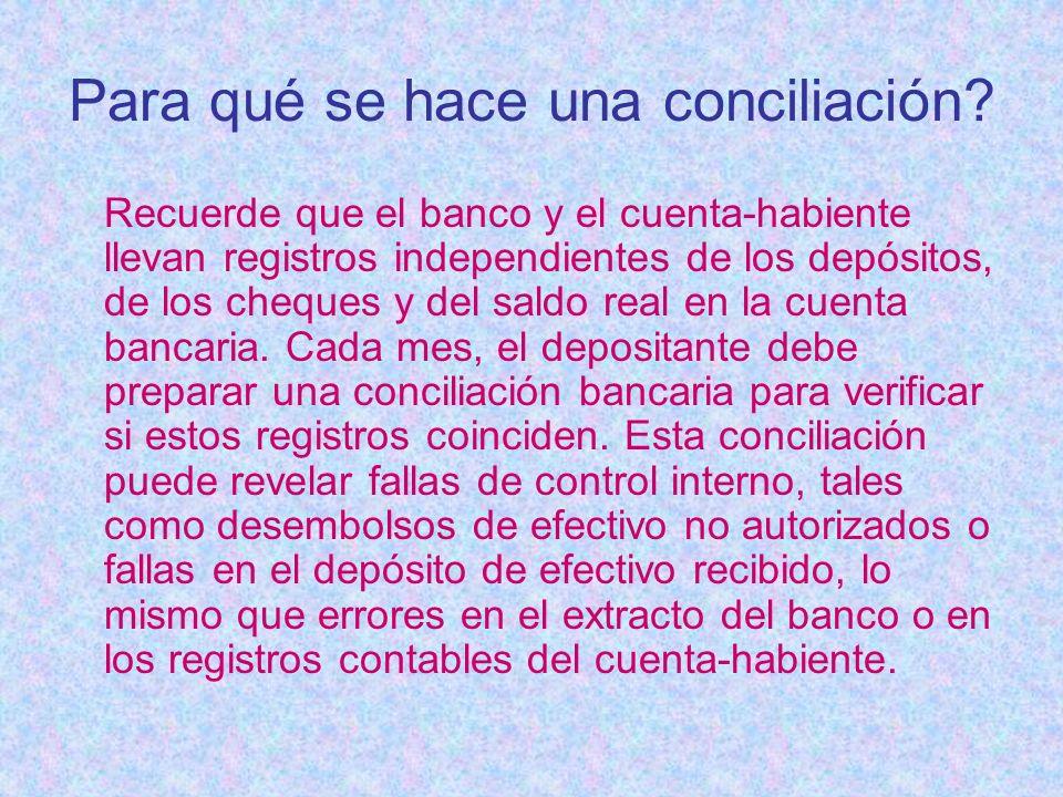 Para qué se hace una conciliación? Recuerde que el banco y el cuenta-habiente llevan registros independientes de los depósitos, de los cheques y del s
