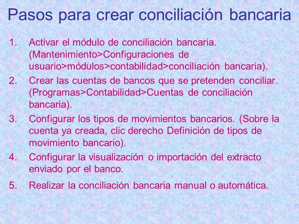 Pasos para crear conciliación bancaria 1.Activar el módulo de conciliación bancaria. (Mantenimiento>Configuraciones de usuario>módulos>contabilidad>co