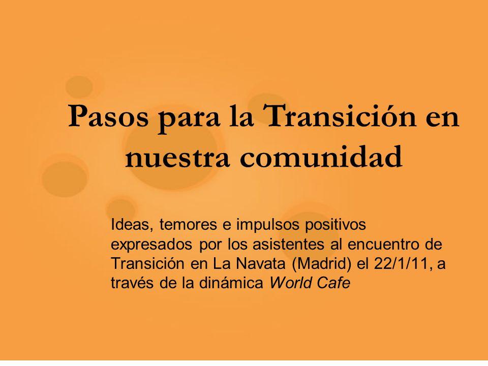 Pasos para la Transición en nuestra comunidad Ideas, temores e impulsos positivos expresados por los asistentes al encuentro de Transición en La Navata (Madrid) el 22/1/11, a través de la dinámica World Cafe