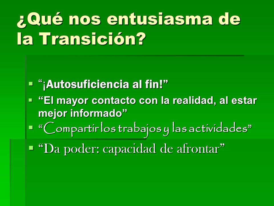 ¿Qué nos entusiasma de la Transición.¡ Autosuficiencia al fin.