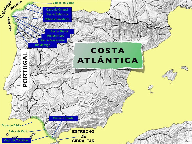 Estaca de Bares C.Gallega Rías Altas Rías Bajas Cabo de Ortegal Ría de Betanzos Ría de Vigo Ría de Pontevedra Ría de Arosa Ría de Muros PORTUGAL Golfo