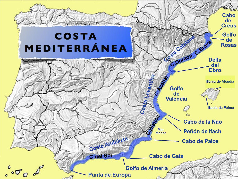 Cabo de Creus Golfo de Rosas Delta del Ebro Golfo de Valencia Cabo de la Nao Peñón de Ifach Mar Menor Cabo de Palos Cabo de Gata Golfo de Almería Punt