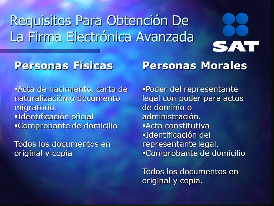 Requisitos Para Obtención De La Firma Electrónica Avanzada Personas Físicas Acta de nacimiento, carta de naturalización o documento migratorio. Acta d