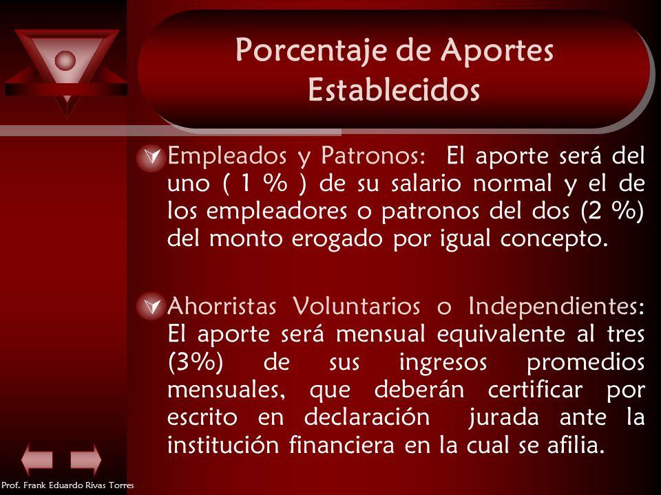 Prof. Frank Eduardo Rivas Torres Porcentaje de Aportes Establecidos Empleados y Patronos: El aporte será del uno ( 1 % ) de su salario normal y el de