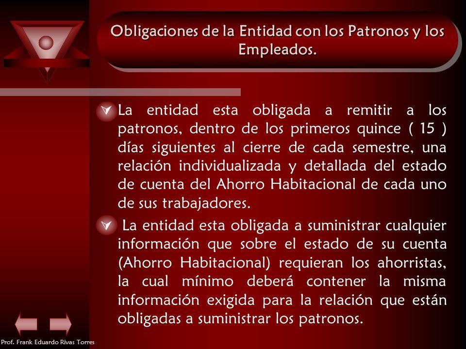 Prof. Frank Eduardo Rivas Torres Obligaciones de la Entidad con los Patronos y los Empleados. La entidad esta obligada a remitir a los patronos, dentr