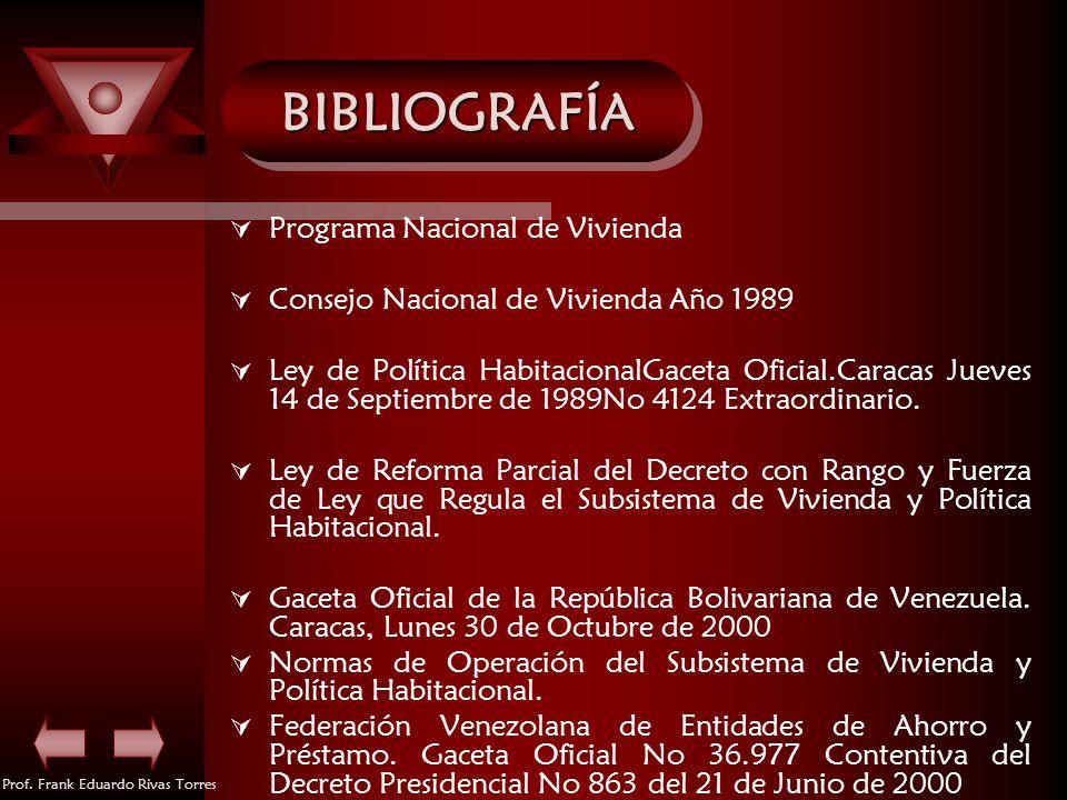Prof. Frank Eduardo Rivas Torres BIBLIOGRAFÍABIBLIOGRAFÍA Programa Nacional de Vivienda Consejo Nacional de Vivienda Año 1989 Ley de Política Habitaci