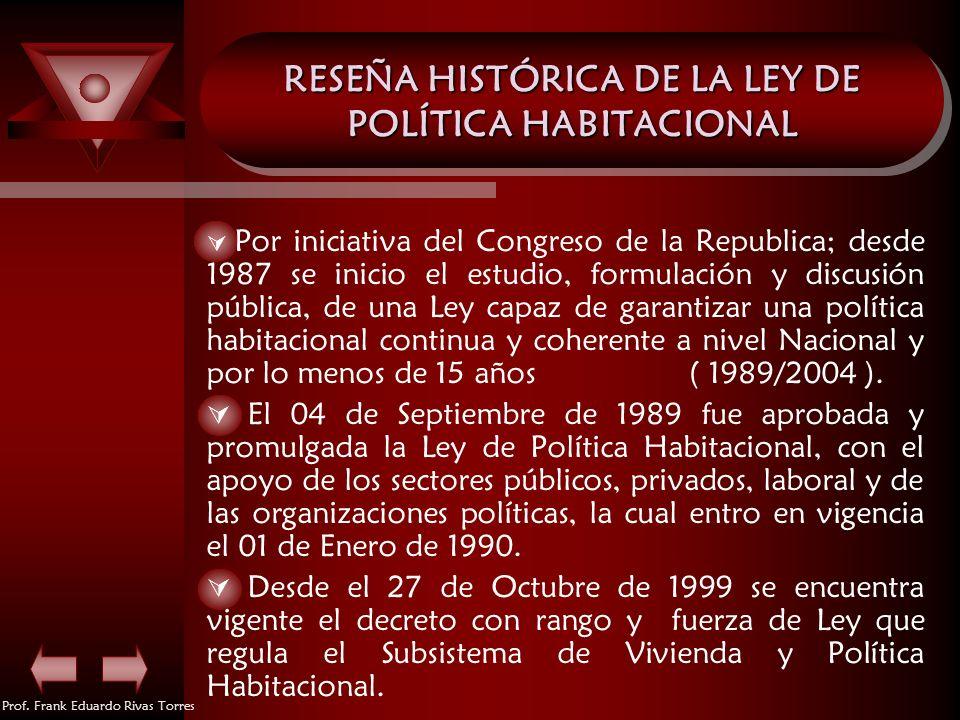Prof. Frank Eduardo Rivas Torres RESEÑA HISTÓRICA DE LA LEY DE POLÍTICA HABITACIONAL Por iniciativa del Congreso de la Republica; desde 1987 se inicio