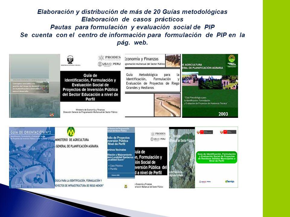 15 Elaboración y distribución de más de 20 Guías metodológicas Elaboración de casos prácticos Pautas para formulación y evaluación social de PIP Se cu