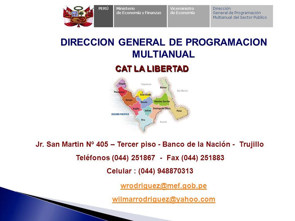 PERÚMinisterio de Economía y Finanzas Viceministro de Economía Dirección General de Programación Multianual del Sector Público DIRECCION GENERAL DE PR