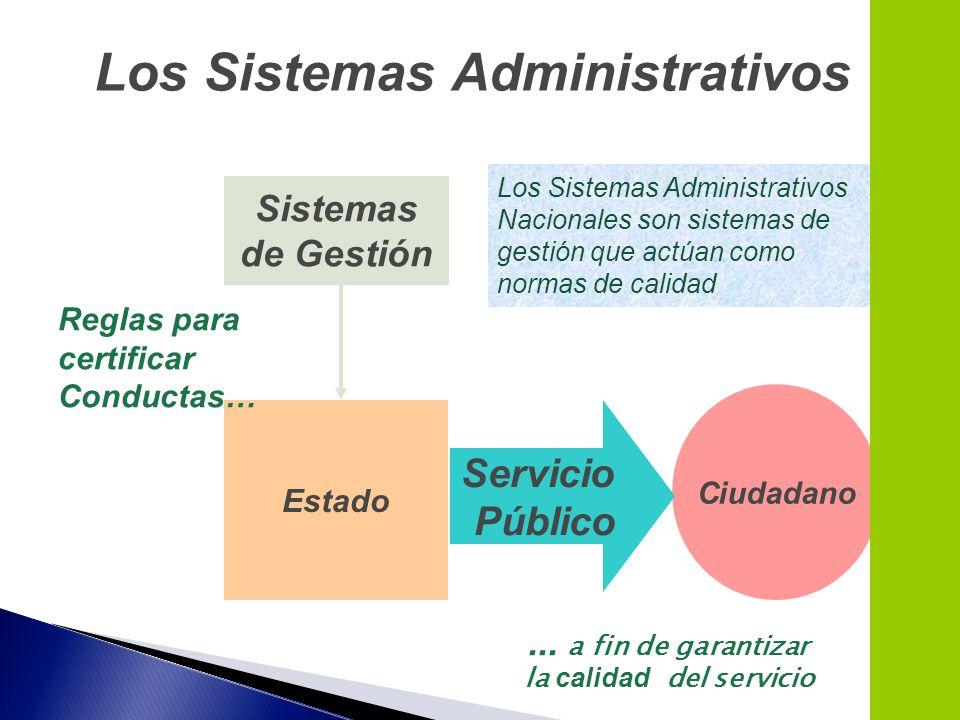 Los Sistemas Administrativos Nacionales son sistemas de gestión que actúan como normas de calidad Estado Sistemas de Gestión Ciudadano Servicio Públic