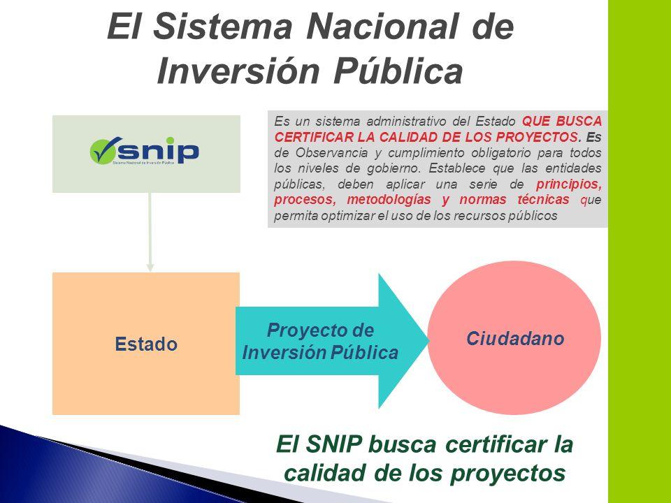 Estado Ciudadano Proyecto de Inversión Pública El SNIP busca certificar la calidad de los proyectos El Sistema Nacional de Inversión Pública Es un sis
