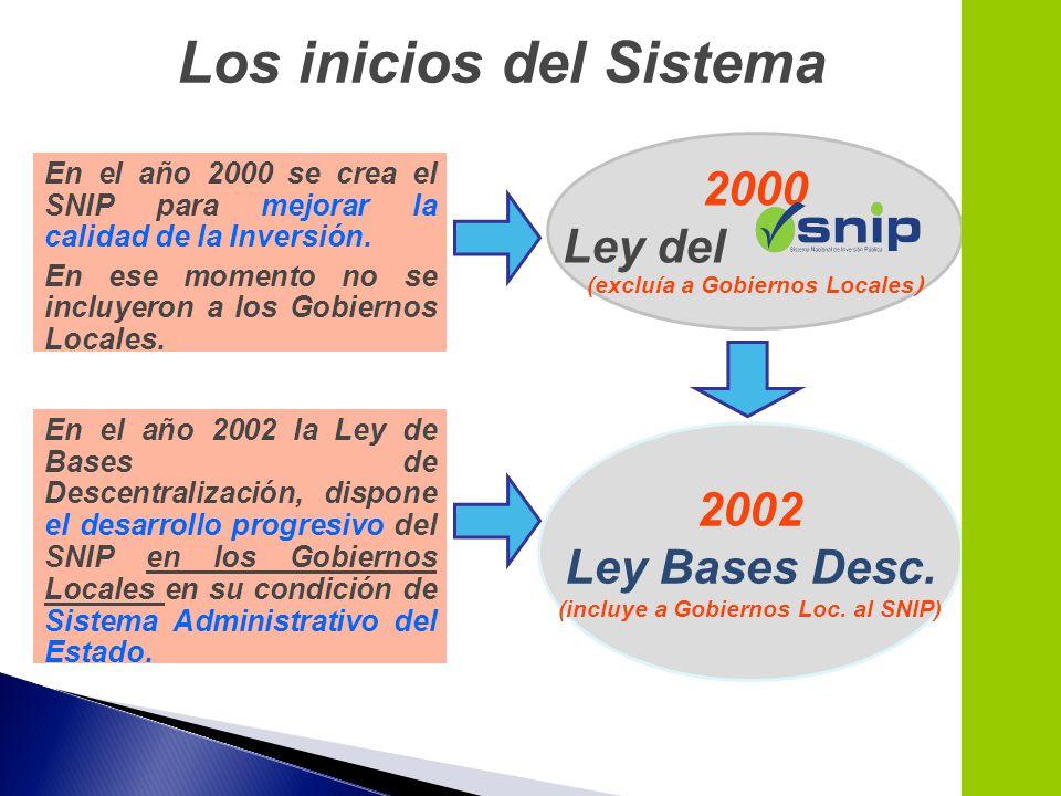 Los inicios del Sistema En el año 2000 se crea el SNIP para mejorar la calidad de la Inversión. En ese momento no se incluyeron a los Gobiernos Locale