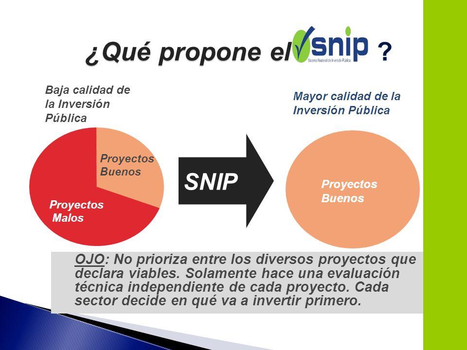 OJO: No prioriza entre los diversos proyectos que declara viables. Solamente hace una evaluación técnica independiente de cada proyecto. Cada sector d