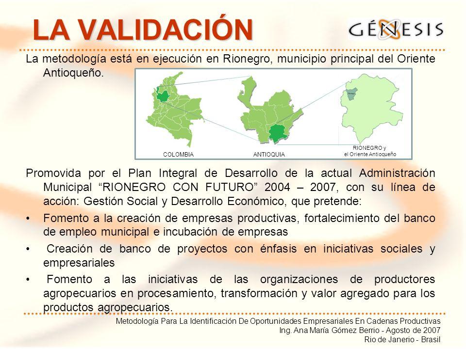 Metodología Para La Identificación De Oportunidades Empresariales En Cadenas Productivas Ing. Ana María Gómez Berrio - Agosto de 2007 Rio de Janerio -