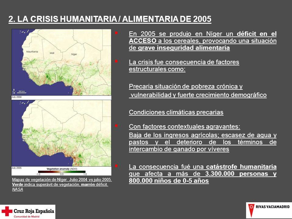 2.LA CRISIS HUMANITARIA / ALIMENTARIA DE 2005 Mapas de vegetación de Níger.