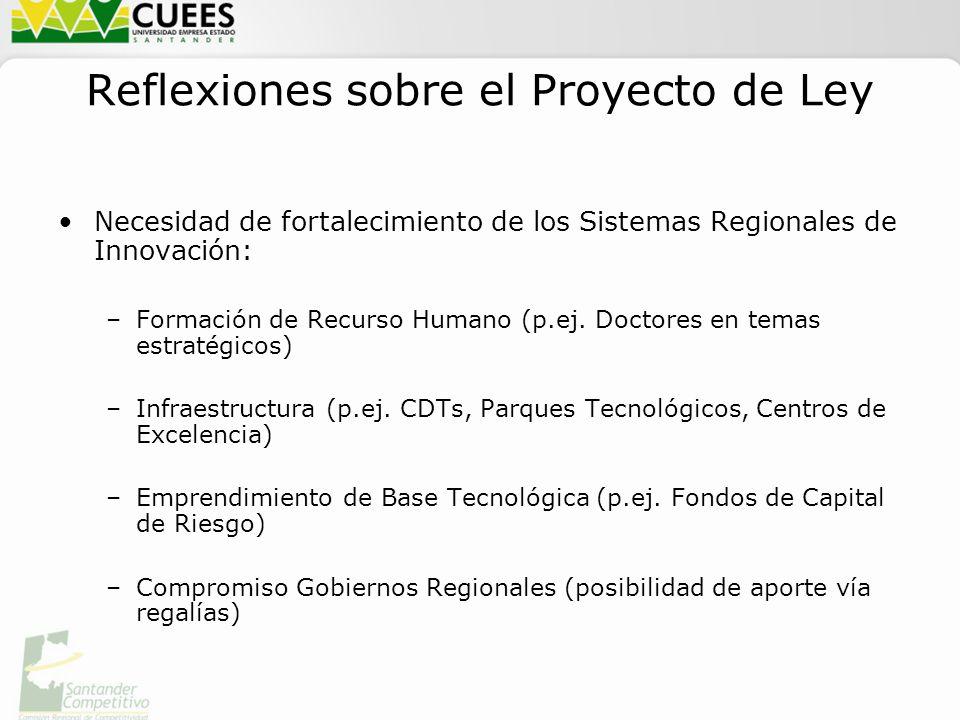 Reflexiones sobre el Proyecto de Ley Necesidad de fortalecimiento de los Sistemas Regionales de Innovación: –Formación de Recurso Humano (p.ej.