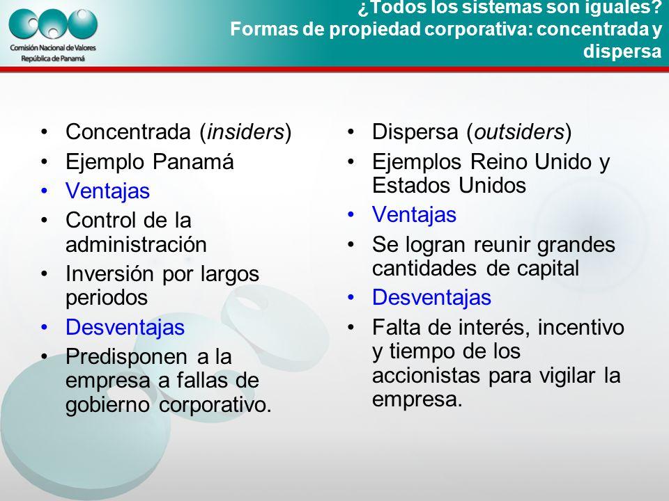 ¿Todos los sistemas son iguales? Formas de propiedad corporativa: concentrada y dispersa Concentrada (insiders) Ejemplo Panamá Ventajas Control de la