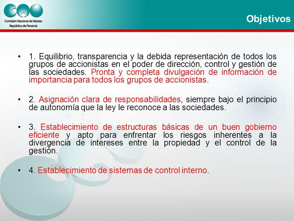 Objetivos 1. Equilibrio, transparencia y la debida representación de todos los grupos de accionistas en el poder de dirección, control y gestión de la